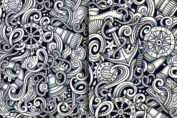 Nautical Doodle Seamless Pattern