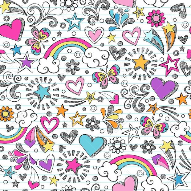 Doodle Rainbow Seamless Pattern