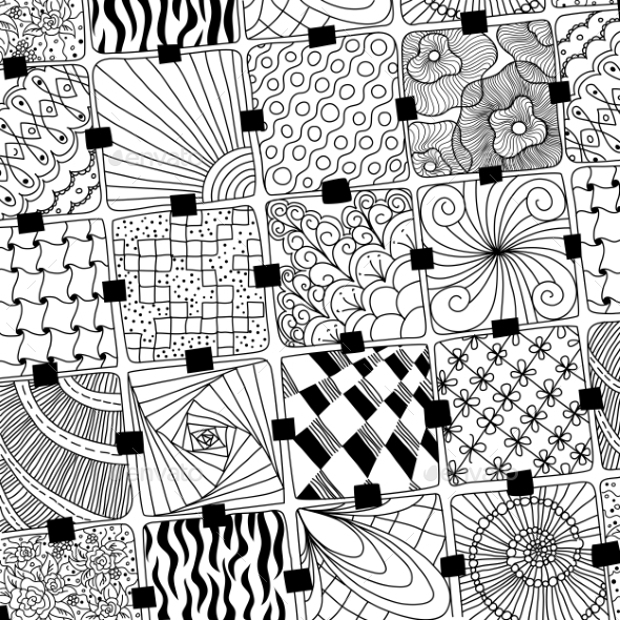 Black and White Doodle Pattern