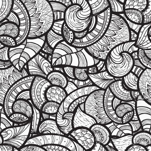 Ethenic Doodle Monochrome Pattern