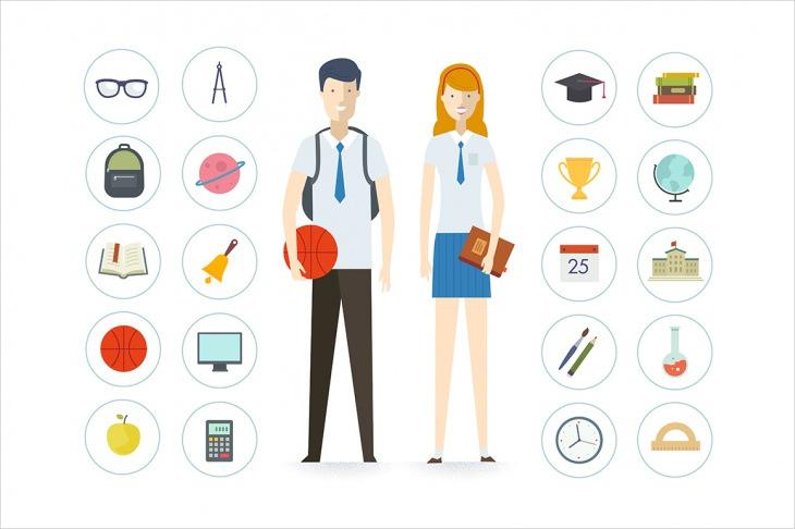 school vector illustration icons6