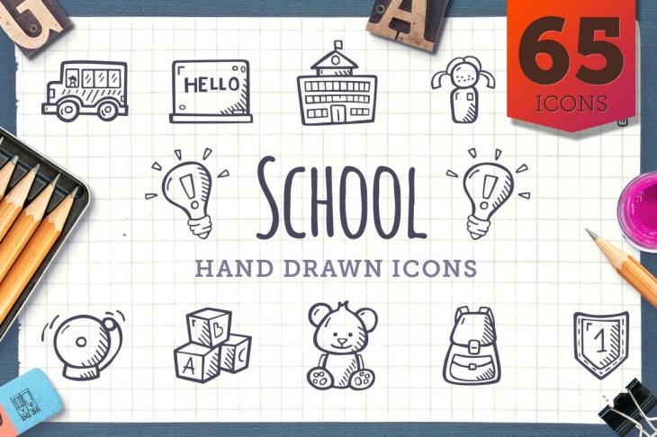 hand drawn school icons2