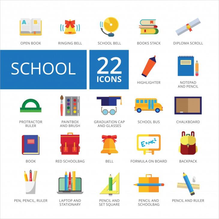 multicolor school icons