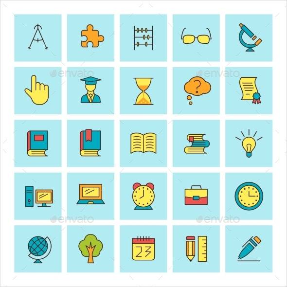 School Icons in a Square Column