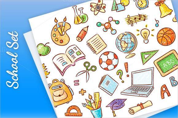 doodle set of school things2