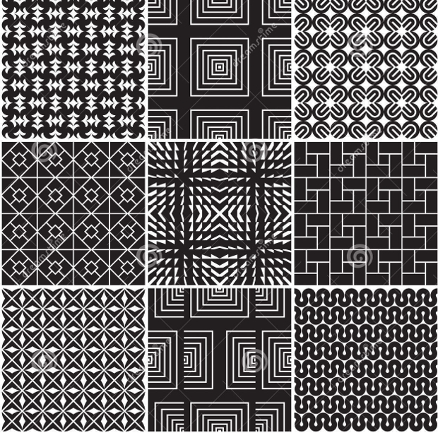 Seamless Monochrome Vector Patterns