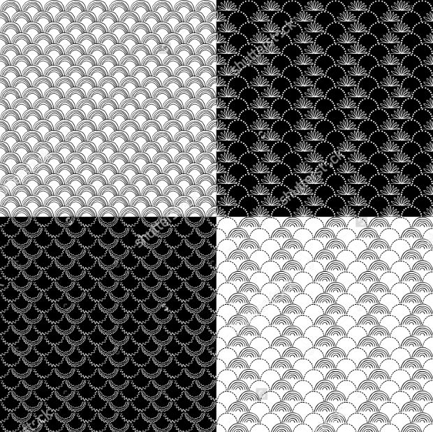 four simple monochrome patterns