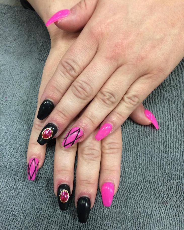 Pink Nail Art: 21+ Two Tone Nail Art Designs, Ideas