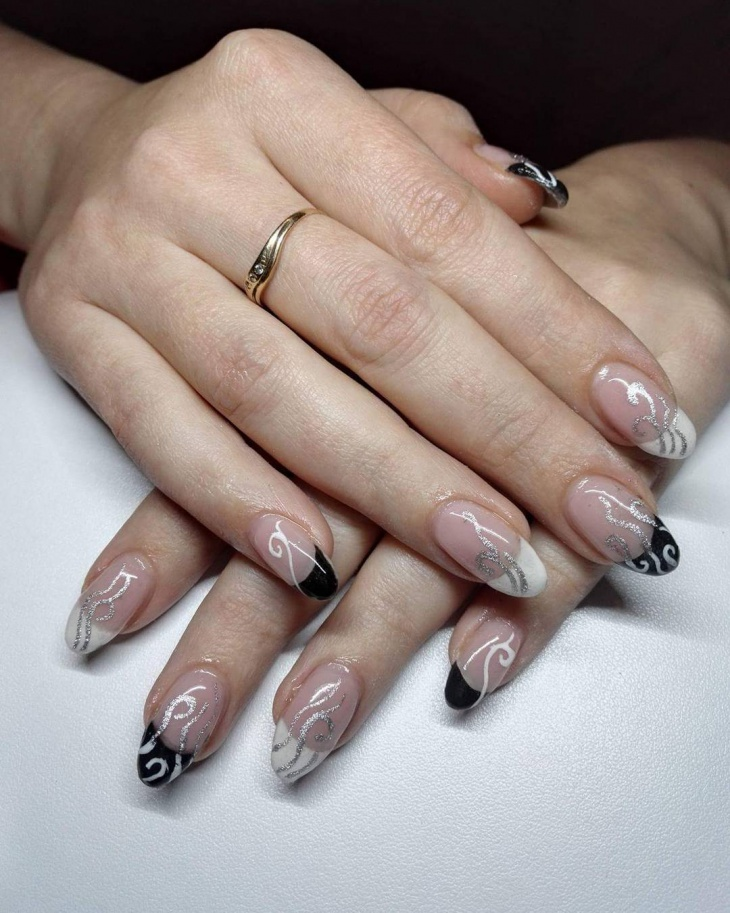 two tone nails in black and white