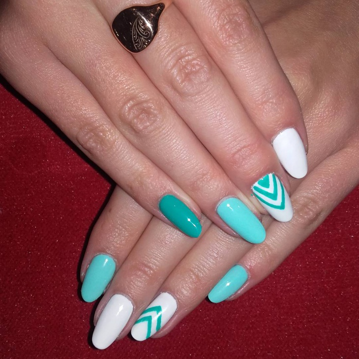 mint and white nail design idea