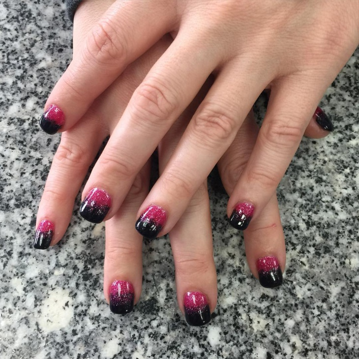 pink and black glitter nail design