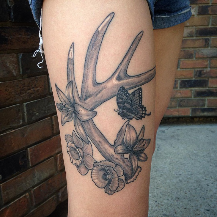 Deer Antler Tattoo on Thigh