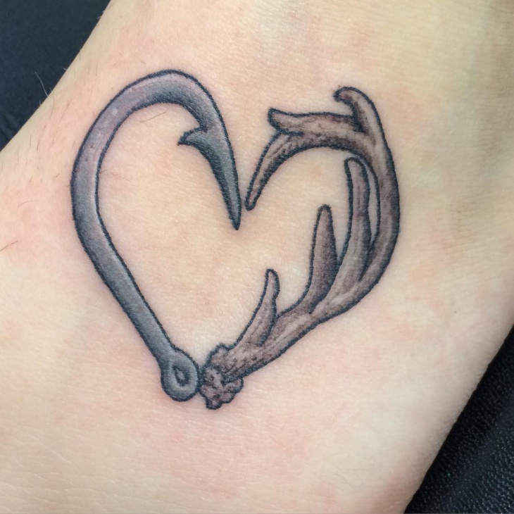 deer antler heart tattoo