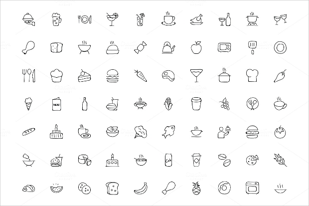 Hand Drawn Food Doodle Icons