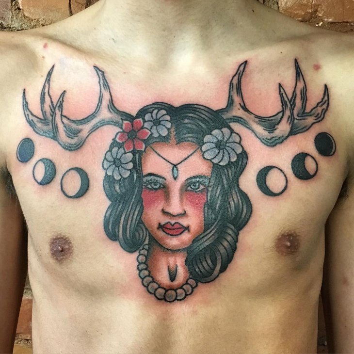 Lady Head Tattoo for Men