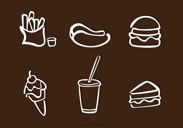 White Food Outline Icons