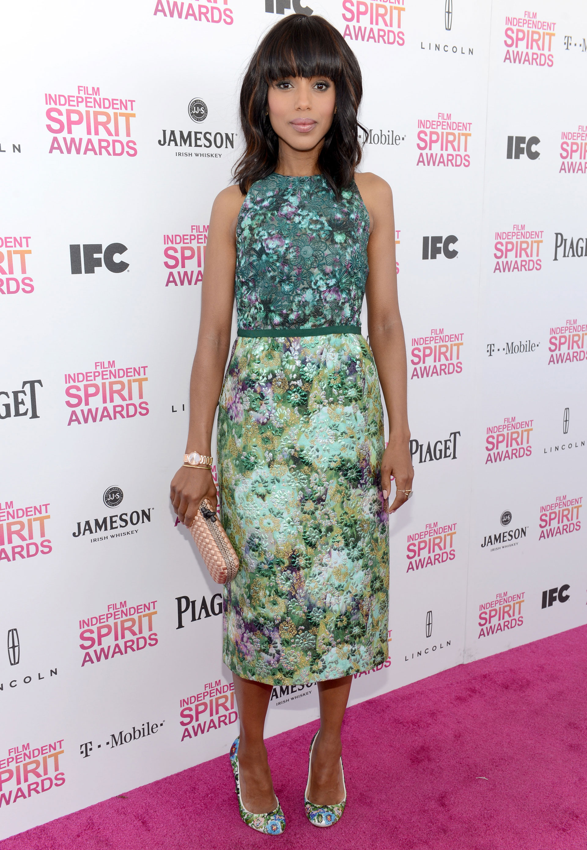 Kerry Washington with Mixed Printed Dress