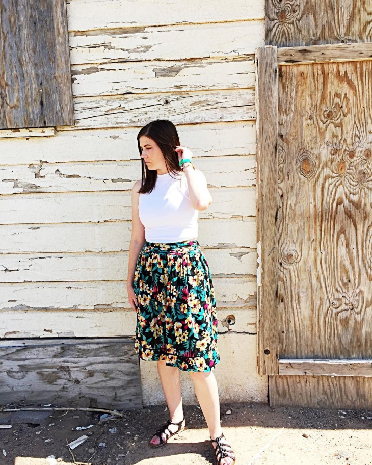 Flower Printed Mini Skirt