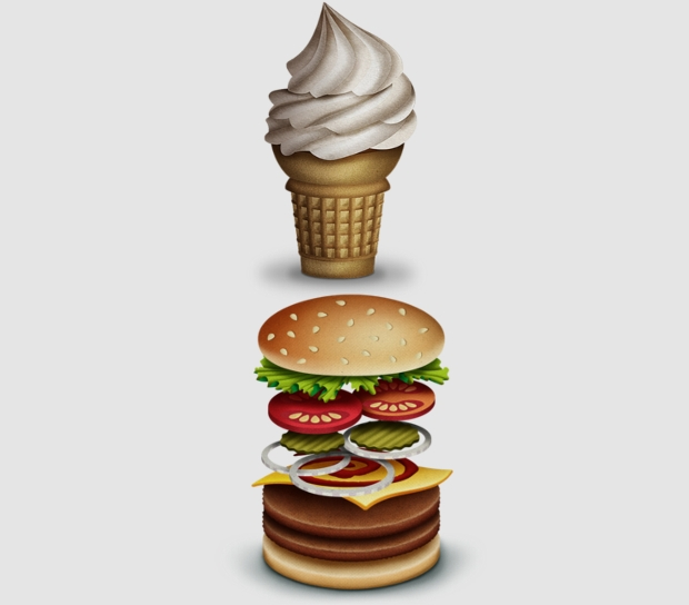 burger and ice cream vector