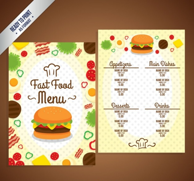 food menu template vector