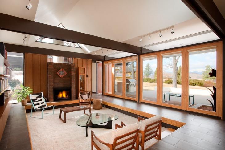 loft wood living room idea