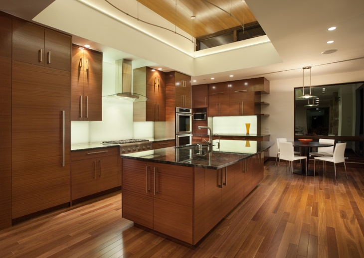 Brown Wood Kitchen Flooring Idea