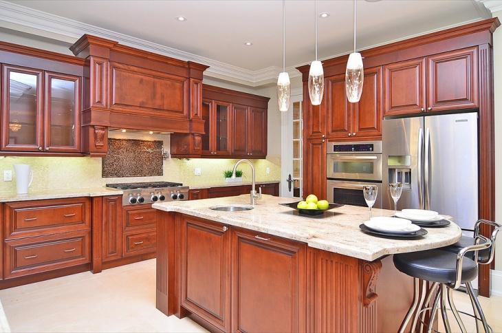 white floor with chocolate brown kitchen