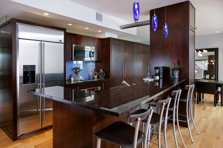 Dark Brown Kitchen With Blue chandelier