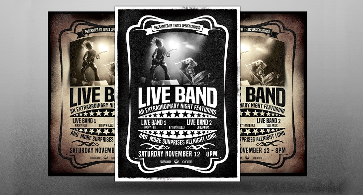Band Flyer Templates  Printable Psd Ai Vector Eps Format