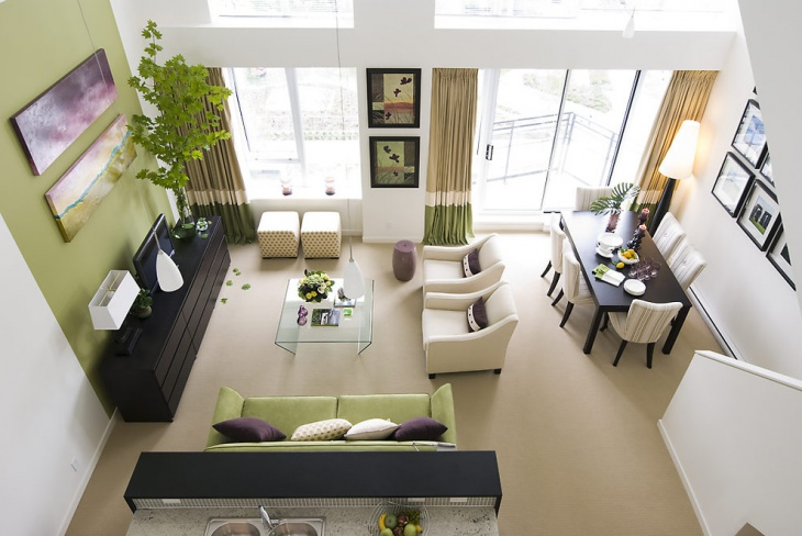 loft living room with glass compact