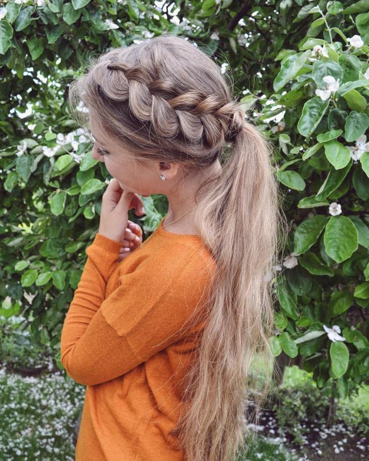 braided ponytail for long hair