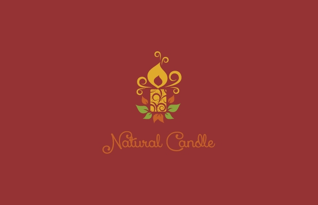 natural candle swirl flame logo