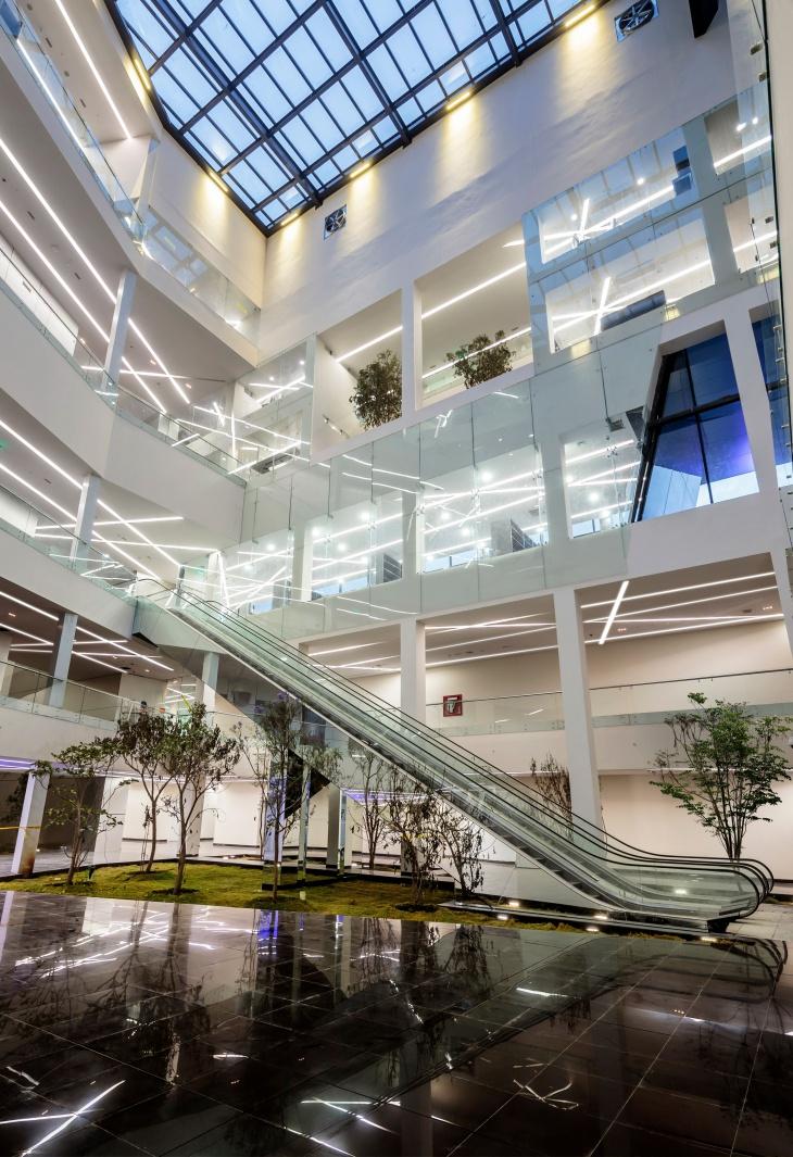 Illuminated Interior of the Building
