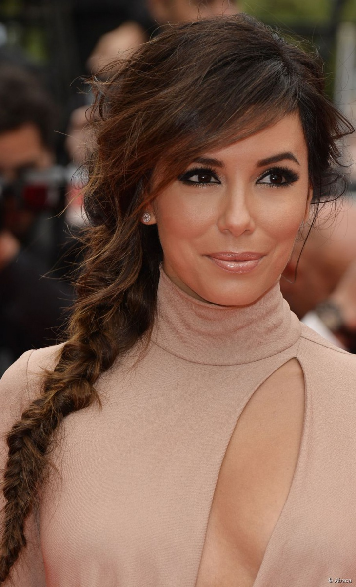 Eva Longoria Messy Side Braid For Long Hair