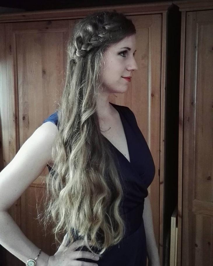 Side Half Updo Braid Hairstyle