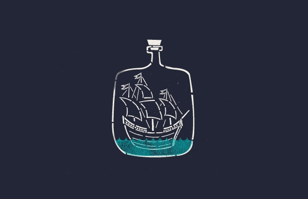 ship bottle conceptual logo design