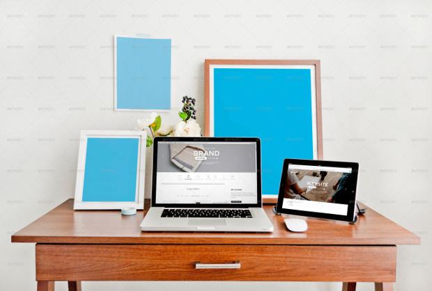 display poster workspace mockup