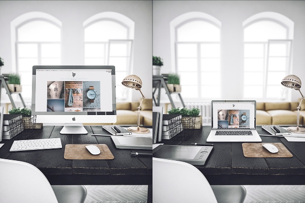 photorealistic workspace mockup