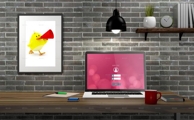 realistic minimalist workspace mockup