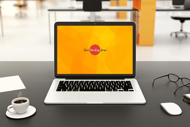 free modern workspace laptop mockup