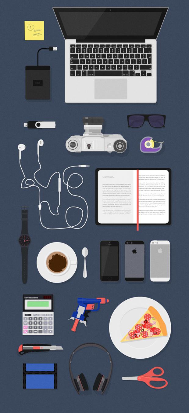 free flat designer desk essentials workspace mockups