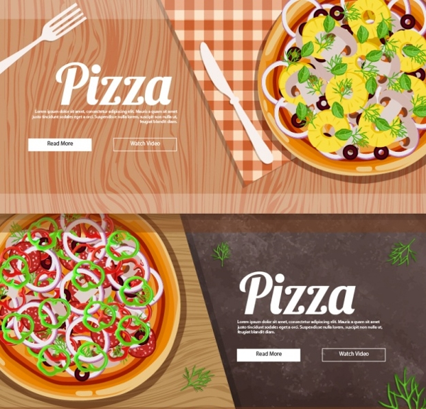 pizza banner vector