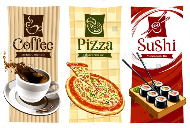 coffee pizza and sushi banners