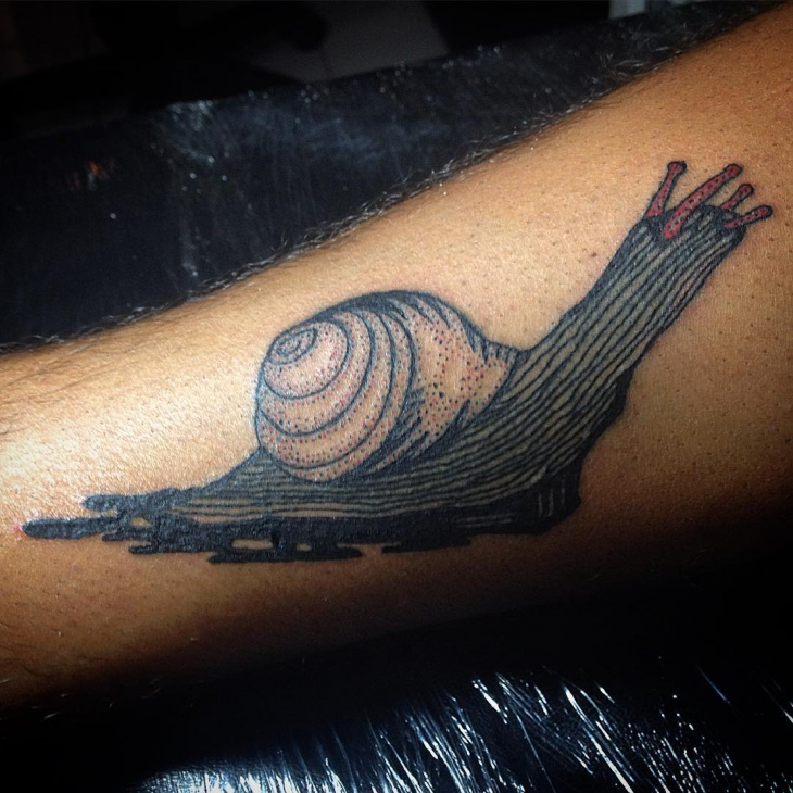Realistic Snail Tattoo Design