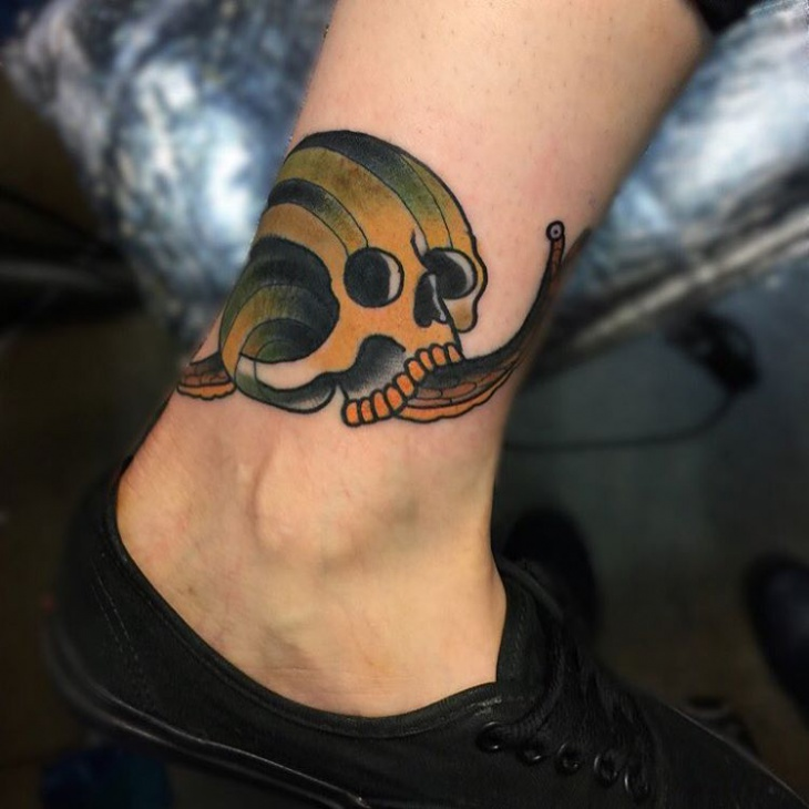 Neo Traditional Snail Tattoo