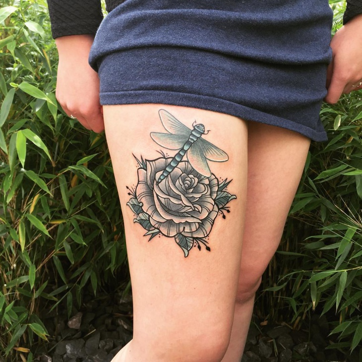 Flower and Insect Tattoo on Thigh