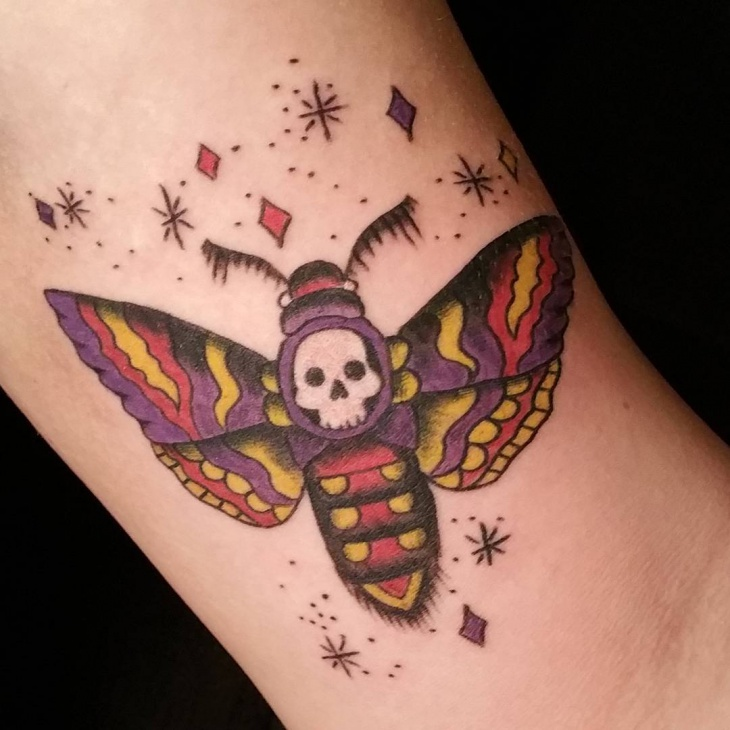 Colorful Moth Tattoo