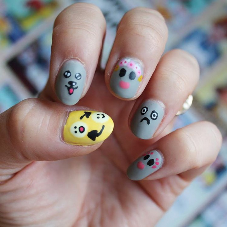 yellow and grey social media nail design