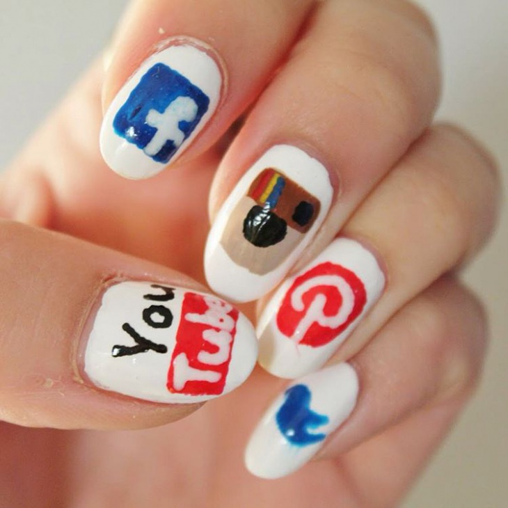 colorful social media nail art