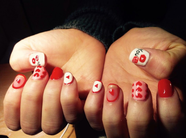 white and red youtube nail design